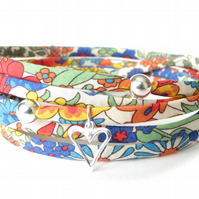 Colourful Liberty fabric bracelet with heart charm, friendship bracelet