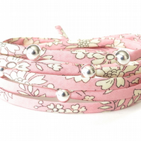 Sweet Liberty fabric wrap bracelet for girls with sterling silver beads