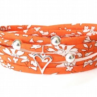 Liberty fabric bracelet in bright orange with silver heart charm, gift for girls