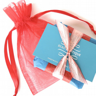 Red - teal gift wrap to go with your bracelet purchase