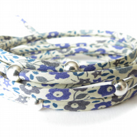 Petite Liberty fabric multiple wrap bracelet with sterling silver beads