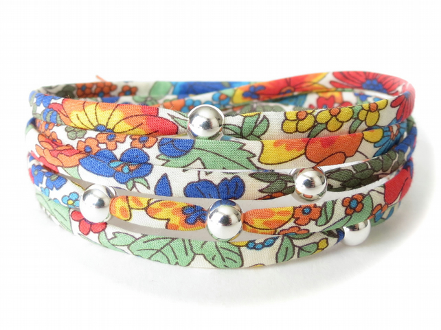 Colourful Liberty fabric wrap bracelet with sterling silver beads