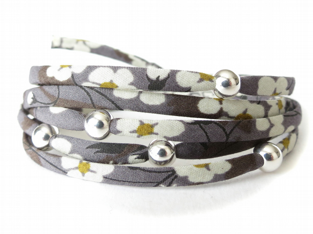 Charcoal grey Liberty fabric wrap with sterling silver beads, UK gift for girls