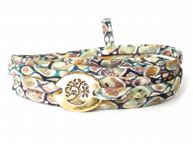 Liberty fabric bracelet with TierraCast bird in a tree link, gift for girls
