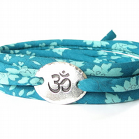 Yoga Liberty fabric bracelet in teal with TierraCast Om charm, gift for girls