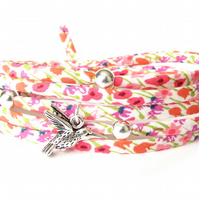 Liberty fabric bracelet with hummingbird charm and silver beads, gift for girls
