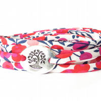 Liberty fabric bracelet fuchsia and white, jewellery gift for daughter