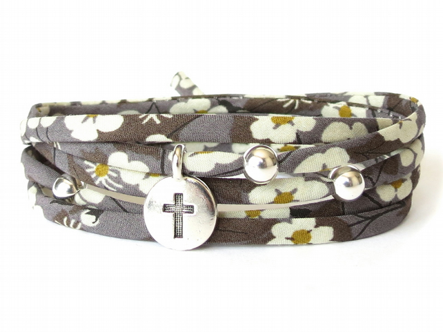 Liberty fabric bracelet in charcoal grey, cross bracelet, sympathy gift idea