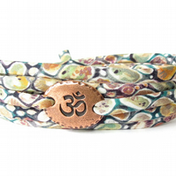Liberty fabric bracelet with Om symbol, Yoga bracelet, wrap bracelet for girls