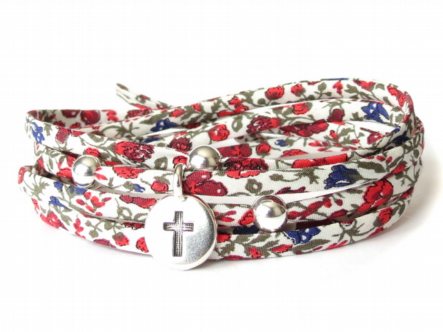 Cross bracelet with Liberty fabric, sympathy gift idea, beaded wrap bracelet
