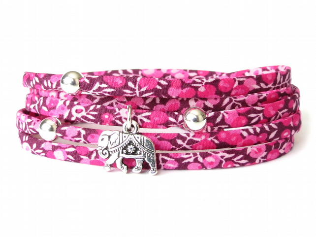 Elephant bracelet with Liberty fabric in fuchsia pink, gifts for girls