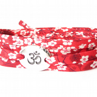 Ohm bracelet with Liberty fabric in red and white florals, Yoga gift for her