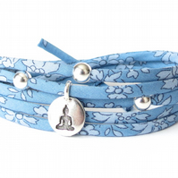 Meditating Buddha bracelet with blue Liberty fabric cord, Yoga gifts for women