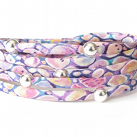 Liberty fabric wrap in pink & purple with sterling silver beads, gift for mum