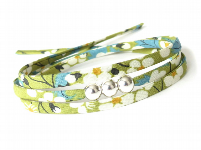 Liberty fabric bracelet in spring green, silver bead bracelet for women