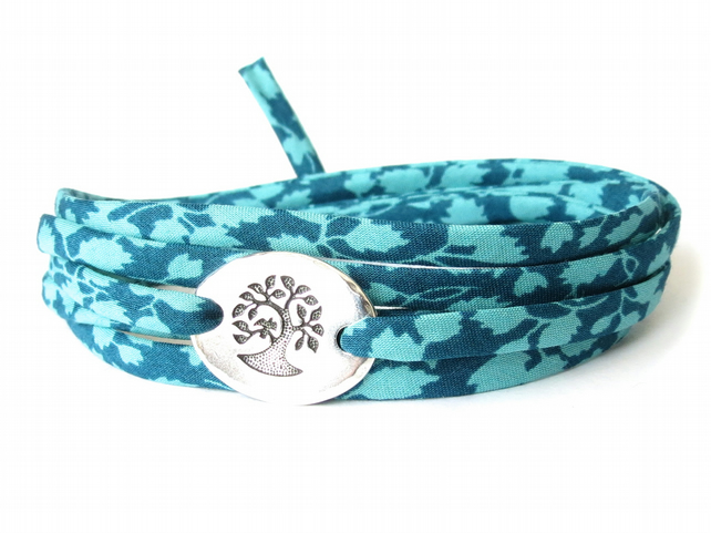 Liberty fabric bracelet in teal and turquoise, hipster style wrap bracelet