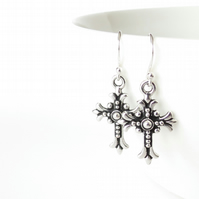 Cross earrings with sterling silver French ear wires, boho gifts for women
