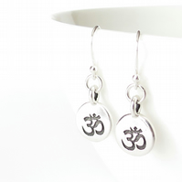 Ohm earrings for Yoga lovers, french wires sterling silver with pewter charms