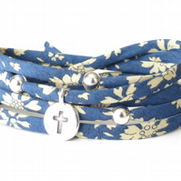Cross bracelet with dark blue Liberty fabric, sympathy gift for women