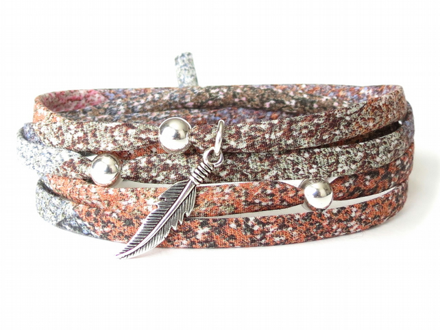 Silver feather bracelet with Liberty fabric in earthy browns, gift for girls