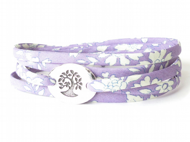 Friendship bracelet for girls, lilac wrap bracelet with Liberty fabric