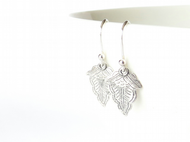 Bohemian etched leaf charm earrings, Valentine's gift for wife