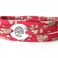 Friendship bracelet for girls, red and cream wrap bracelet with Liberty fabric