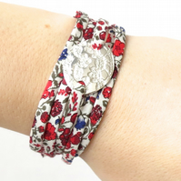 Vintage lace pattern silver charm, artisan silver bracelet with Liberty fabric