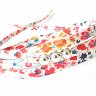 Spring flowers bracelet, triple wrap with floral Liberty Fabric, gift for girls