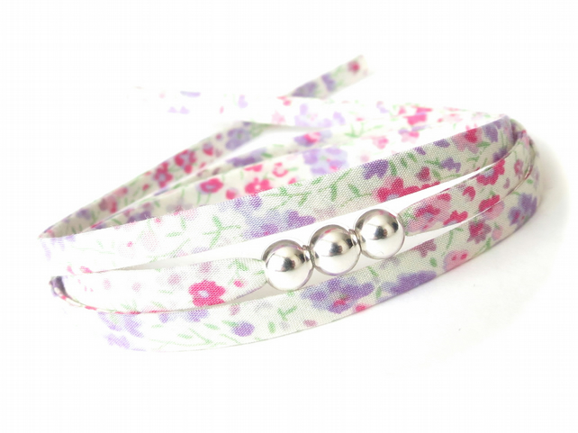 Petite spring flowers bracelet, pastel fabric wrap with 3 silver beads