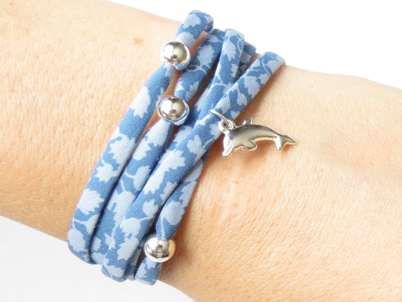 Silver dolphin bracelet with powder blue Liberty fabric, beach bracelet for girl