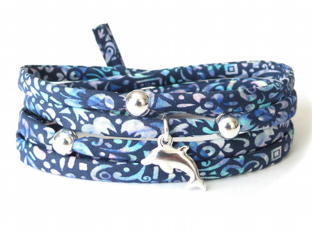 Silver dolphin bracelet with dark blue Liberty fabric, beach bracelet for her