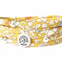 Gardening gift, sunflower yellow wrap bracelet with tree charm