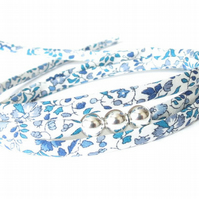 Babysitter gift, blue & white floral wrap bracelet with silver beads