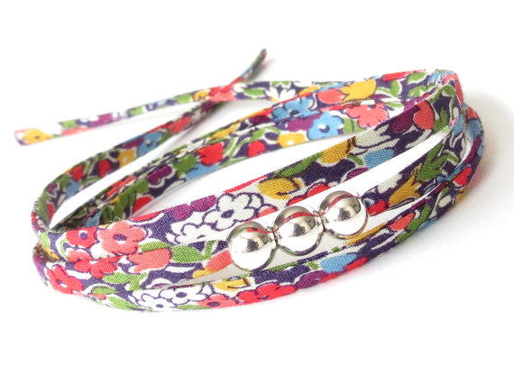 Sorry you're leaving gift, pretty floral wrap bracelet with 3x silver beads