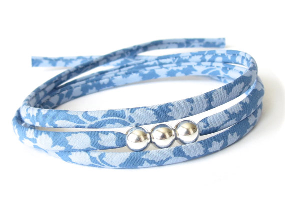 Thank you gift, light blue wrap bracelet with silver beads