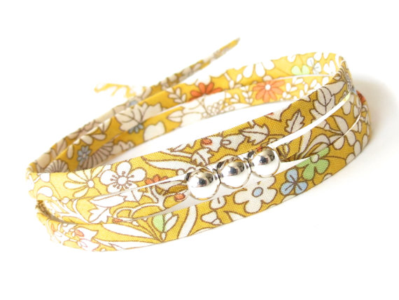 Thank you gift, sunflower yellow wrap bracelet with silver beads