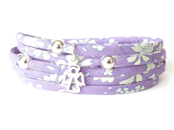 Confirmation bracelet for girls, pastel lilac guardian angel charm bracelet