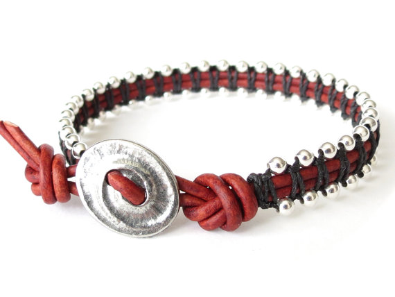 Macrame bracelet in red and silver, leather wrap bracelet for women