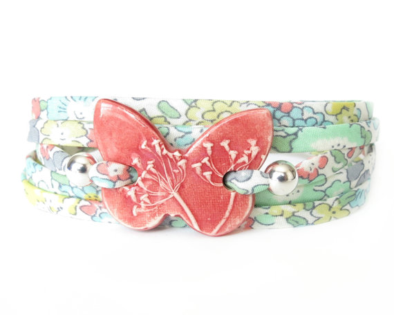 Textured clay butterfly bracelet, statement bracelet for layering
