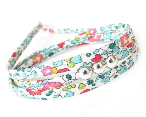 Cute friendship bracelet for girls, colourful triple wrap with silver beads