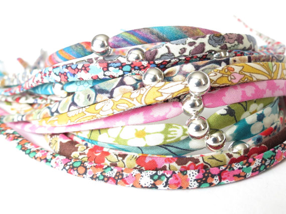 1x single wrap fabric ribbon bracelet, stocking filler for girls