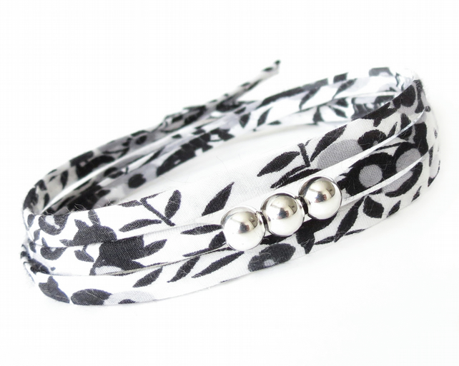 Small thinking of you gift, black white and grey wrap bracelet with silver beads
