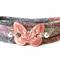 Rustic clay butterfly bracelet, fabric statement bracelet for layering