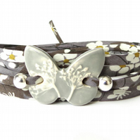 Charcoal grey wrap bracelet with clay butterfly charm for women