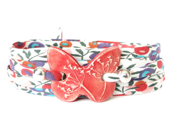Nature theme wrap bracelet with clay butterfly, gift idea for women