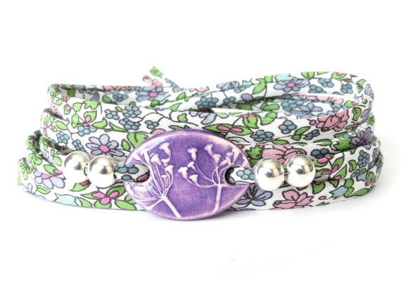 Purple clay charm bracelet, unique fabric wrap for spring