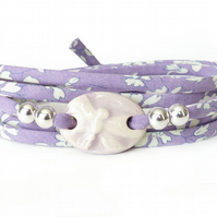 Lilac Dragonfly bracelet with textured clay charm and Liberty fabric ribbon