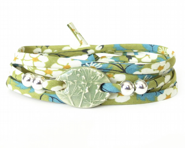 Spring green clay charm bracelet with textured grass print