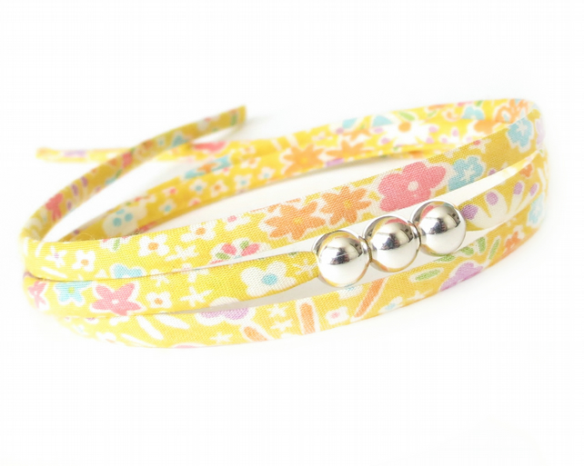 Sunflower yellow wrap bracelet, cheer up gift for friend
